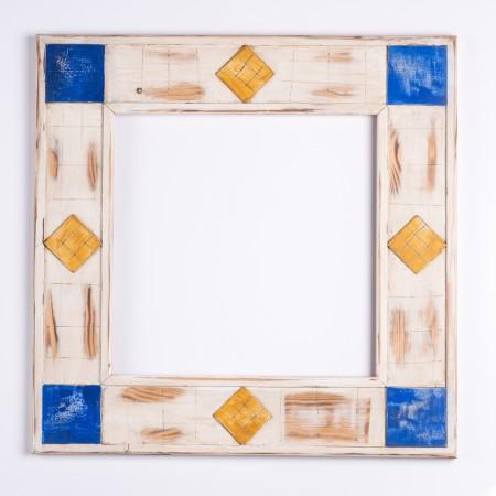 Pino.Decorado 392 Marfil adornos azul/amarillo