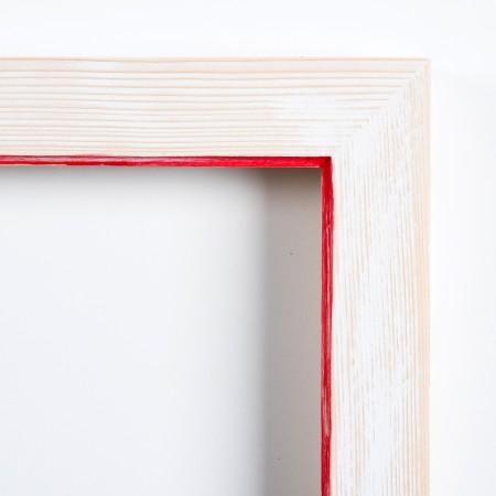 Pino decorado blanco filo rojo